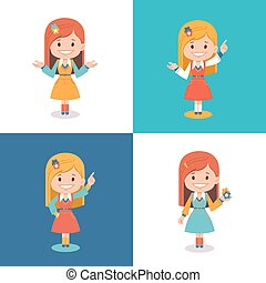 Smiling cute girls in different dress on white and color background.Set of women in different poses.Beautiful characters