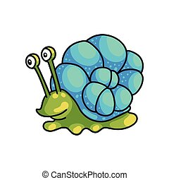 Smiling cute green snail with colorful blue shell