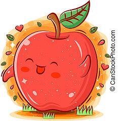 Smiling cute kawaii cartoon of apple character