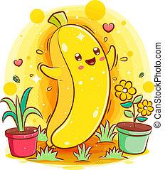Smiling cute kawaii cartoon of banana character