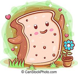 Smiling cute kawaii cartoon of bread character