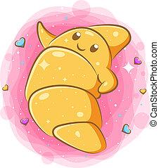 Smiling cute kawaii cartoon of croissant character