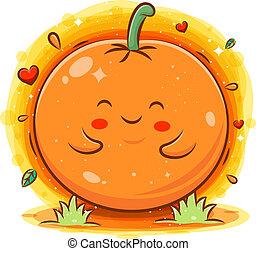 Smiling cute kawaii cartoon of orange character