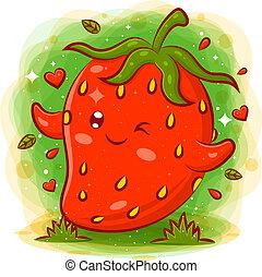 Smiling cute kawaii cartoon of strawberry character