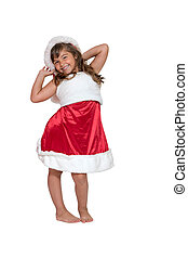 Smiling cute little girl in Santa Claus costume isolated