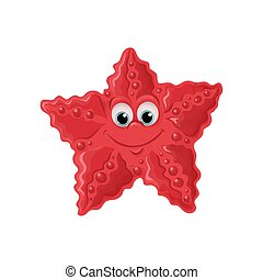 Smiling cute starfish. Vector illustration.