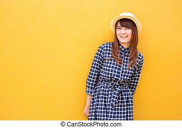 smiling cute woman wear in dress