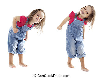 Smiling Dancing Toddler Girl - Stock Image - Happy toddler...