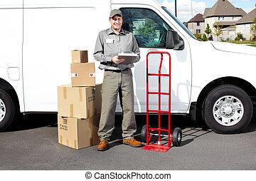 Smiling delivery courier. - Smiling delivery courier ...