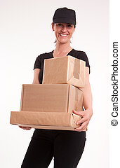 Smiling delivery woman in black