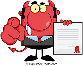 Smiling Devil Holds Up A Contract - Smiling Devil Boss Holds...