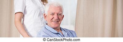 Smiling disabled man