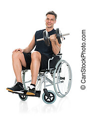 Disabled Man On Wheelchair Working Out With Dumbbell -...