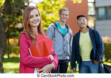 Smiling diverse students
