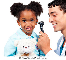 Smiling doctor examining his patient\'s ears against a white background
