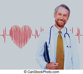 smiling doctor on the background heart rate.