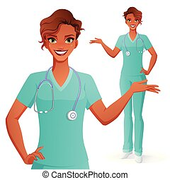 Smiling doctor presenting. Woman in medical uniform. Isolated vector illustration.