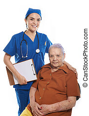 smiling doctor with old patient