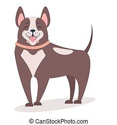 Smiling dog isolated on white vector flat illustration