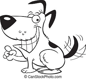 Smiling dog pointing - Black and white illustration of a dog...