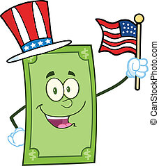 Smiling Dollar With USA Flag