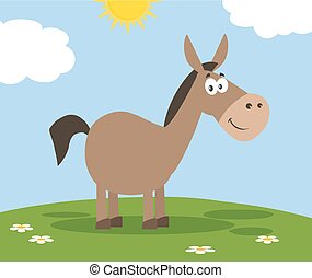Smiling Donkey Cartoon Character