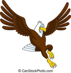 Smiling Eagle Cartoon Character Flying
