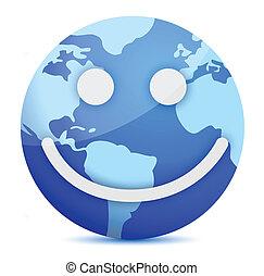 smiling Earth globe