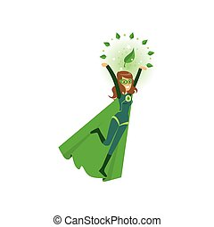 Smiling eco superhero fly with hands up. Cartoon character...