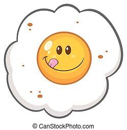 Smiling Egg Cartoon Character
