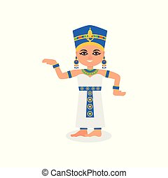 Smiling Egyptian woman in dancing action. Queen of ancient Egypt. Cartoon female character in traditional costume. Flat vector