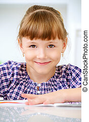smiling eight year old girl - Happy seven year old girl...