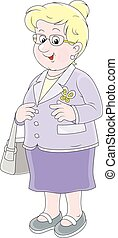 Vector illustration of a white-headed aged woman friendly smiling, on a white background