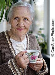 Smiling elderly lady