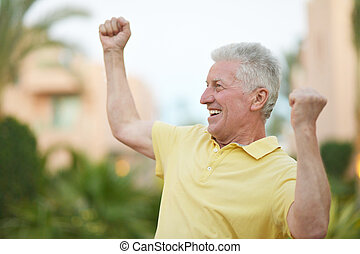 smiling Elderly man - Happy smiling Elderly man at tropic...