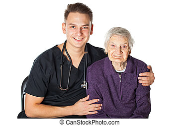 Smiling elderly woman with male physician