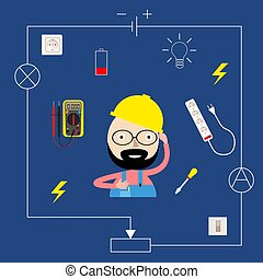 Smiling electrician in a flat style. Electric appliances. Vector illustration.