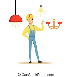 Smiling electrician in uniform installing chandeliers, electric man performing electrical works vector Illustration