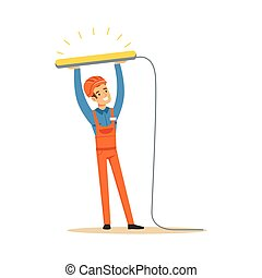 Smiling electrician in uniform installing fluorescent lamp, electric man performing electrical works vector Illustration