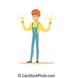 Smiling electrician in uniform standing and holding electric bulbs, electric man performing electrical works vector Illustration