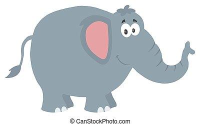 Smiling Elephant Flat Design