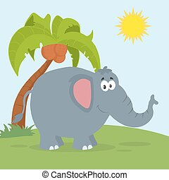 Smiling Elephant With Background