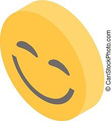 Smiling emoji icon, isometric style