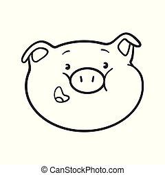 Smiling emoji pig for coloring book.