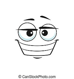Emoticon with big toothy smile isolated linear icon. Vector smiling emoji with big eyes, social network speech element, chatbot avatar. Grinning smiley showing teeth, happy face with broad smile
