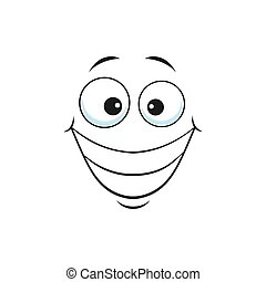 Grinning smiley showing teeth, happy face with broad smile isolated icon. Vector smiling emoji with big eyes, social network speech element, chatbot avatar. Kind emoticon with big toothy smile