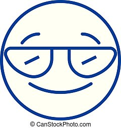 Smiling emoji with sunglasses line icon concept. Smiling emoji with sunglasses flat vector symbol, sign, outline illustration.