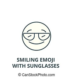 Smiling emoji with sunglasses vector line icon, linear concept, outline sign, symbol