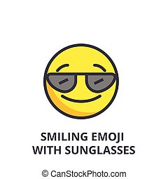 smiling emoji with sunglasses vector line icon, sign, illustration on background, editable strokes
