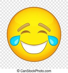 Smiling emoticon icon, cartoon style